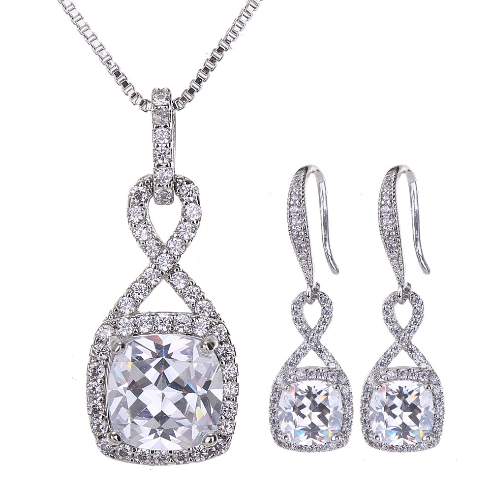 AMYJANE Crystal Jewelry Set for Women - Sterling Silver Square Cubic Zirconia CZ Bridal Pendant Necklace Earrings Set for Wedding Bride Bridesmaids Birthstone Infinity Jewelry Set