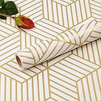 Hode Zelfklevende Behang Meubelsticker Zeshoek Champagne Gouden Strepen Geometrische Zijwand Papier Peel en Stick Vinyl…
