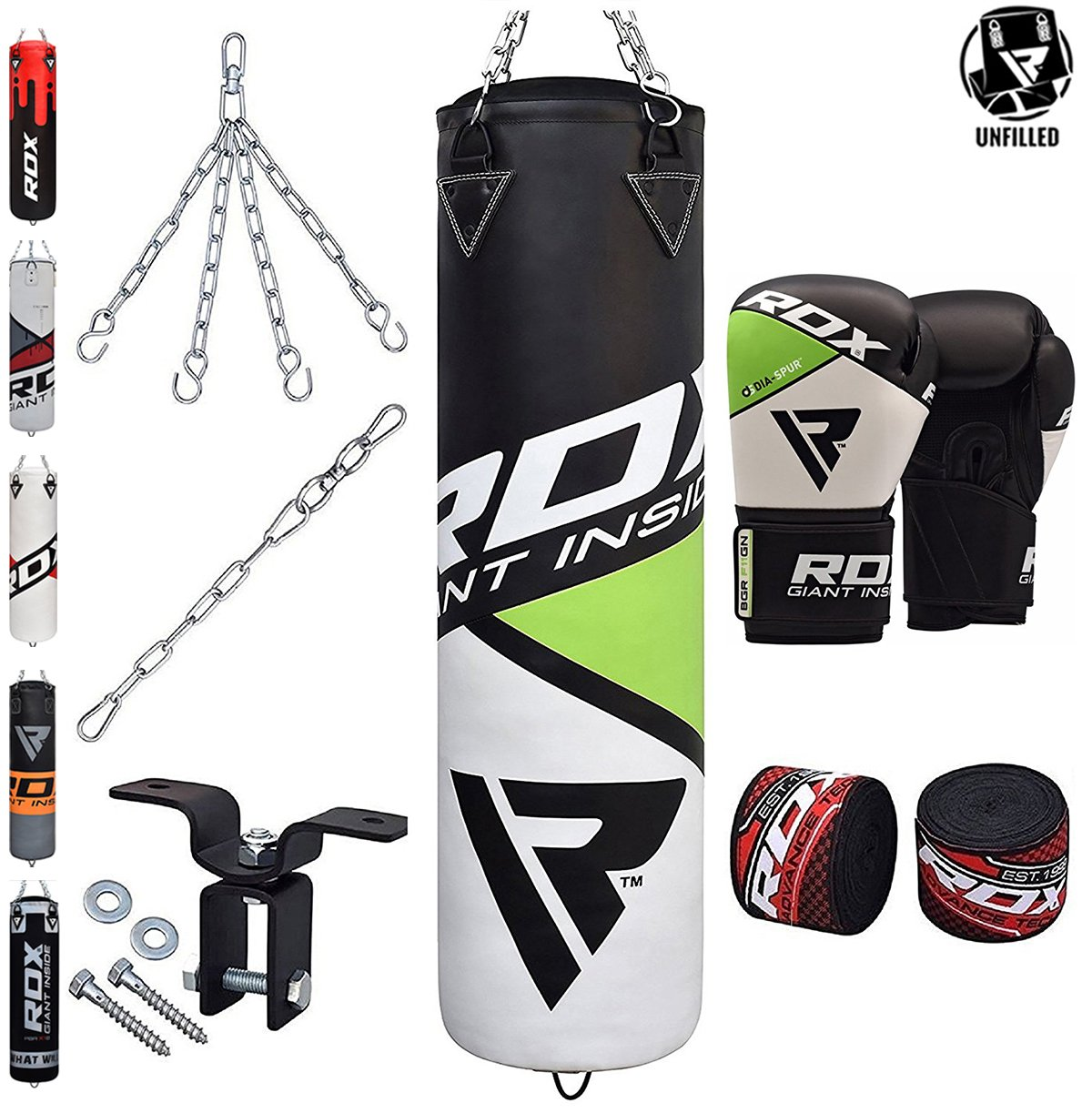 RDX Punching Bag UNFILLED Boxing Mitts 4FT//5FT MMA Heavy Gloves Steel Chains US