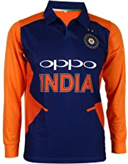Cricket Team India Away Jersey Full Sleeve Cricket Supporter T-Shirt New Orange Team Uniform Polyster Fit Material 2019-20 Kids to Adult