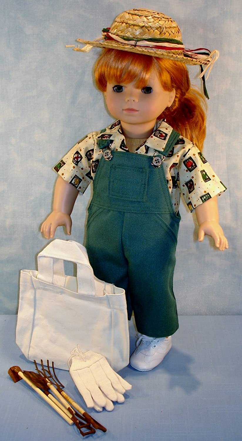 18 Inch Doll Clothes - Green Jeans Garden Outfit handmade by Jane Ellen to fit 18 inch boy or girl doll
