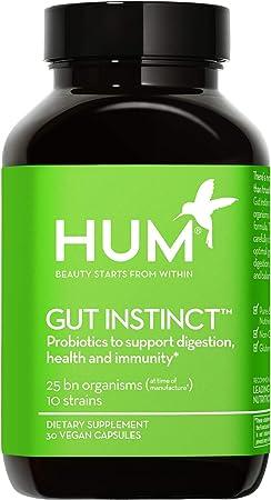 HUM Gut Instinct - 25 Billion CFU Skin Beauty & Gut Support Vegan Probiotics (30 Vegetarian Capsules)