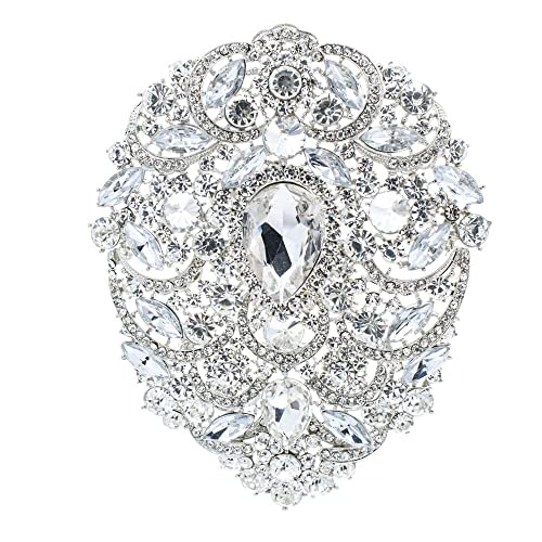6ce499b4512 SEPBRIDALS SEP 4.9IN Rhinestone Crystals Large Egg Shape Brooch Broach Pins  Women Jewelry Accessories 4045