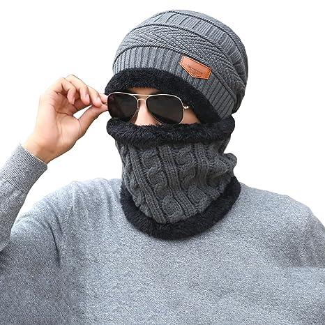 Cappello Uomo invernale Berretto Uomo in Maglia con sciarpa 5d1a7d00a568