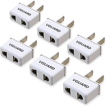 VGUARD [6 Unidades] Adaptador Enchufe de Viajar de para UE Europa a EE.UU./ USA/Estados Unidos, Canadá, México, Cuba, Japón, CN/China, Taiwán, Tailandia y Así Sucesivamente.: Amazon.es: Electrónica