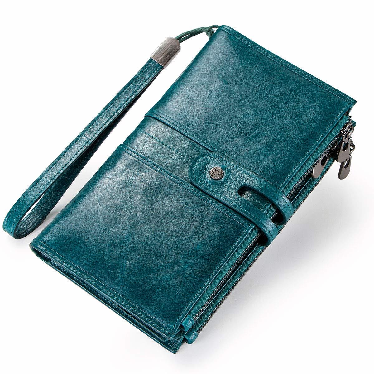 Contacts V/éritable Cuir 3 Zipper T/él/éphone Coin Pochettes Portefeuille Clutch Purse Paon Bleu