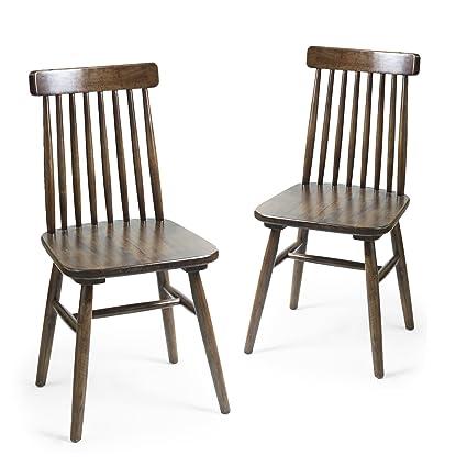 Homebeez Elm Wood Vintage Style Dining Chair With Vertical Slat Back, Dark  Brown (