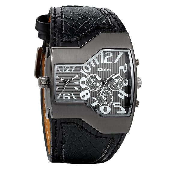 Avaner Grande Reloj de Hombre Militar Deportivo Reloj de Pulsera Negro, Correa de Cuero Ancha Reloj de Piloto 2 Zonas de Horarios Diferentes, 3 Subesferas ...
