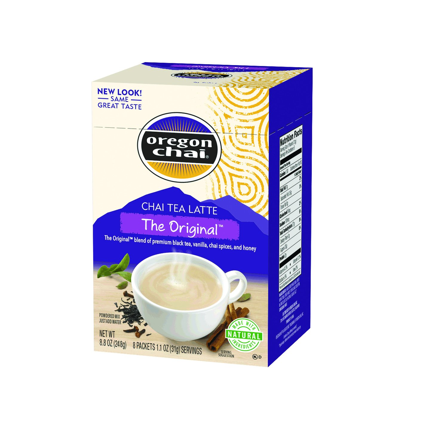Oregon Chai Original Chai Tea Latte Powdered Mix, 8 Count Envelopes per Box, 1.1 oz each (31g) (Pack of 6), Powdered Spiced Black Tea Latte Mix For Home Use, Café, Food Service