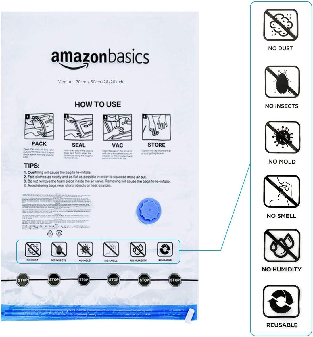 incluyen bomba manual de vac/ío tama/ño extragrande Basics Paquete de 6 bolsas de vac/ío para almacenamiento