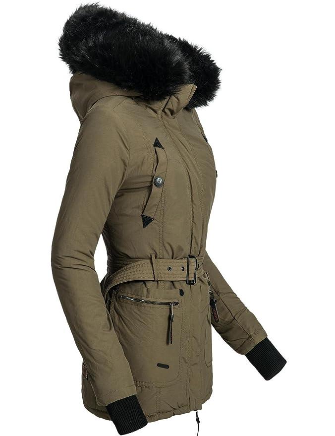 Marikoo Shana - Chaqueta de invierno para mujer, con capucha con pelo negro artificial verde XL : Amazon.es: Ropa y accesorios