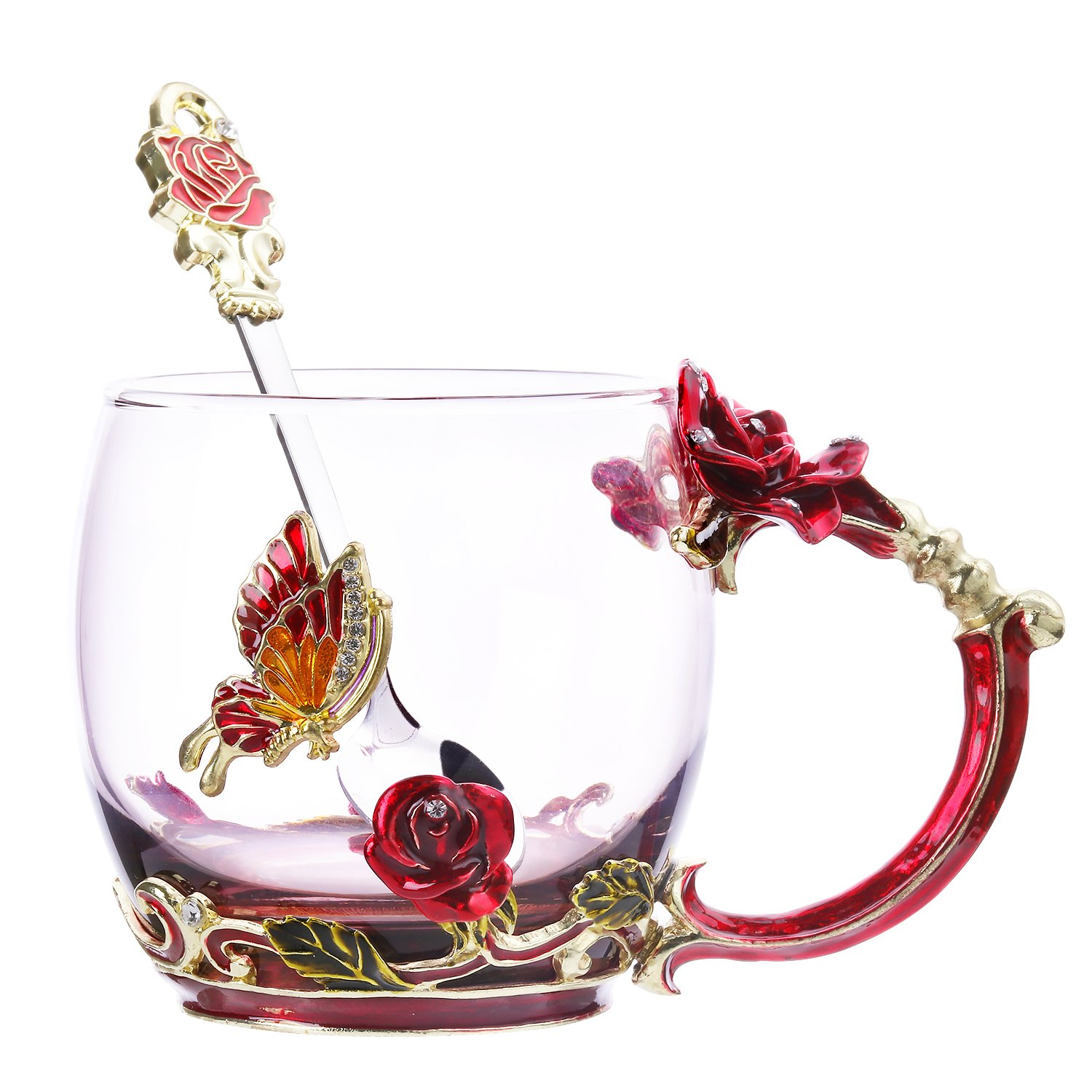 Tea Cup Coffee Mug Glassess Cups & Spoon Beautiful Unique Gift For Women Butterfly Rose (Rose)