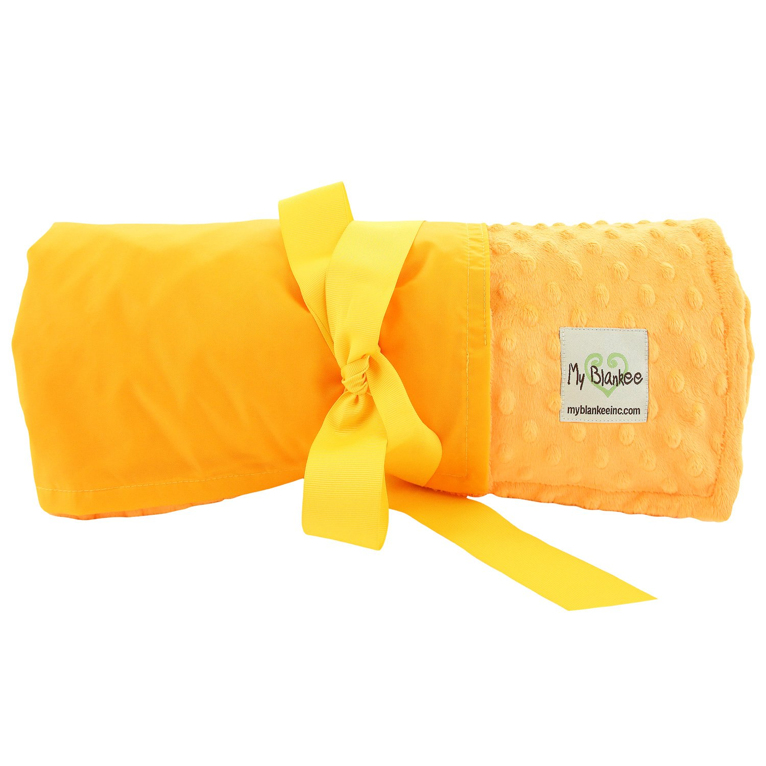My Blankee Extra Large Picnic & Outdoor Blanket Warm and Soft Minky Dot with Waterproof Backing, Yellow, 59'' X 85''
