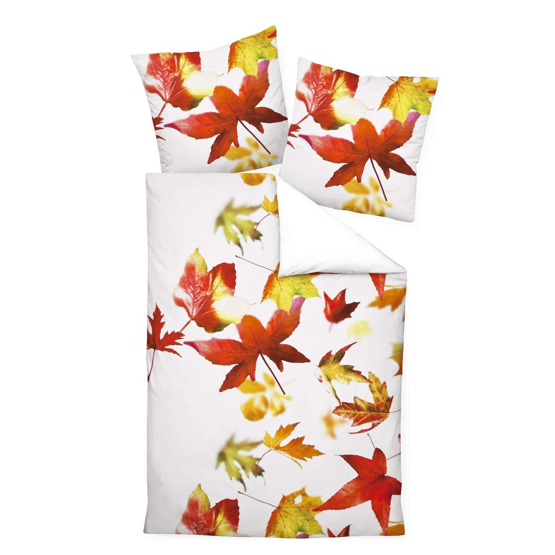 Janine Design Mako-Satin Wendebettwäsche modern Art 42032-04 orangerot 155x220 cm + 80x80 cm
