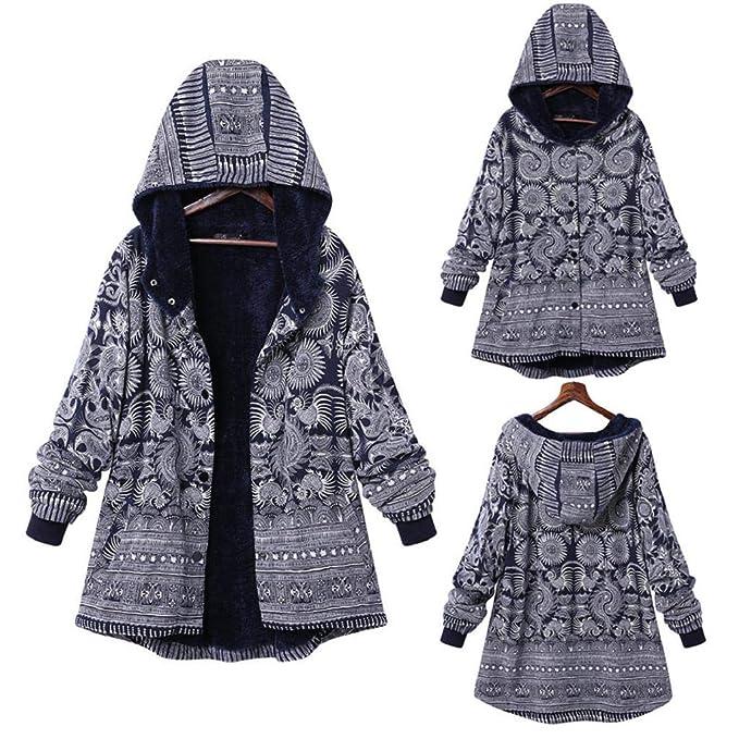 QUICKLYLY Abrigo Mujer Invierno Rebajas,Mujeres Suelto algodón Caliente Impreso Bolsillos más Grueso Chaqueta Capucha