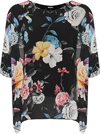 1ff61a87e6672 WEARALL Women s Plus Floral Print Batwing Sleeve Top Ladies Chiffon Lined  Baggy New - Black -