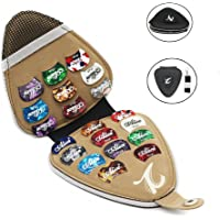Guitar Picks Holder with 20pcs Acoustic Electric Guitar Picks Variety Pack Mixed Thickness Picks, PU Leather Guitar Plectrums Bag Case Gift for Guitar Players Kids