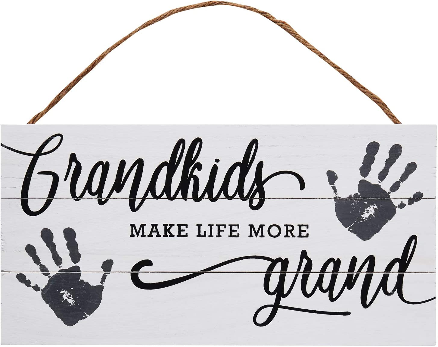 Grandkids Wood Plank Hanging Sign for Home Decor (13.75 x 6.9 Inches)