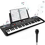 Camide 61 Keys Keyboard Piano, Electronic Digital Piano with Built-In Speaker Microphone, Sheet Stand and Power Supply, Porta