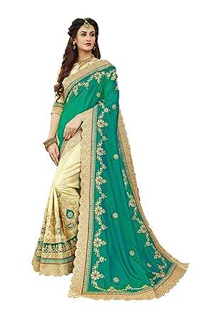 e38931186c31 Da Facioun Indian Sarees for Women Wedding Designer Party Wear Traditional  Green & Beige Sari.