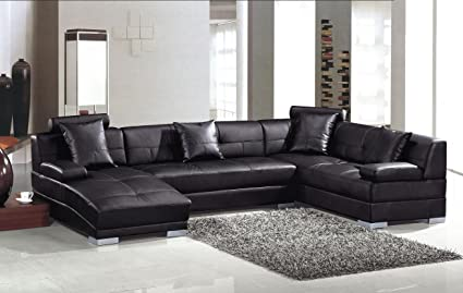 Superbe Encore Black Modern Bonded Leather Sectional Sofa With Chaise Lounge