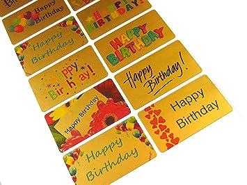 Amazon.com: Minilabel Feliz cumpleaños pegatinas, Oro Self ...