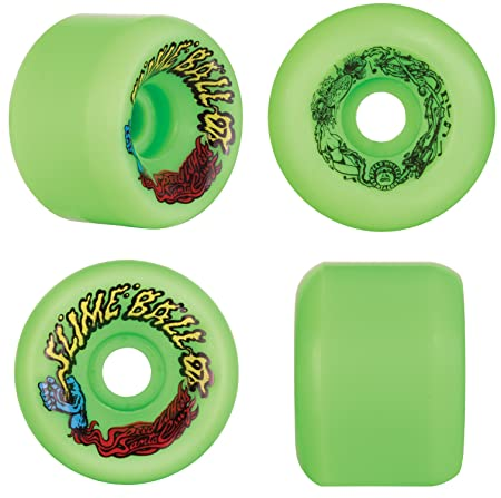 Santa Cruz Slime Ball Vomits Old School Re-Issue 60mm 97a Skateboard Wheels (Neon Green)