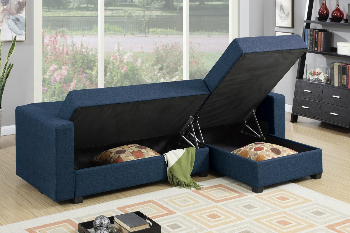 Amazon.com Poundex F7895 Bobkona Medora Linen-Like Left or Right Hand Chaise Adjustable Sectional with Compartment Navy Kitchen u0026 Dining : navy sectional sofa - Sectionals, Sofas & Couches