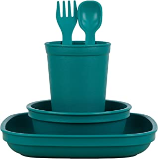 product image for Re-Play Made in The USA Eco Friendly Dinnerware Set for Toddlers and Children - Drinking Cup, Deep Walled Plate,Bowl. Spoon & Fork Set (Teal)