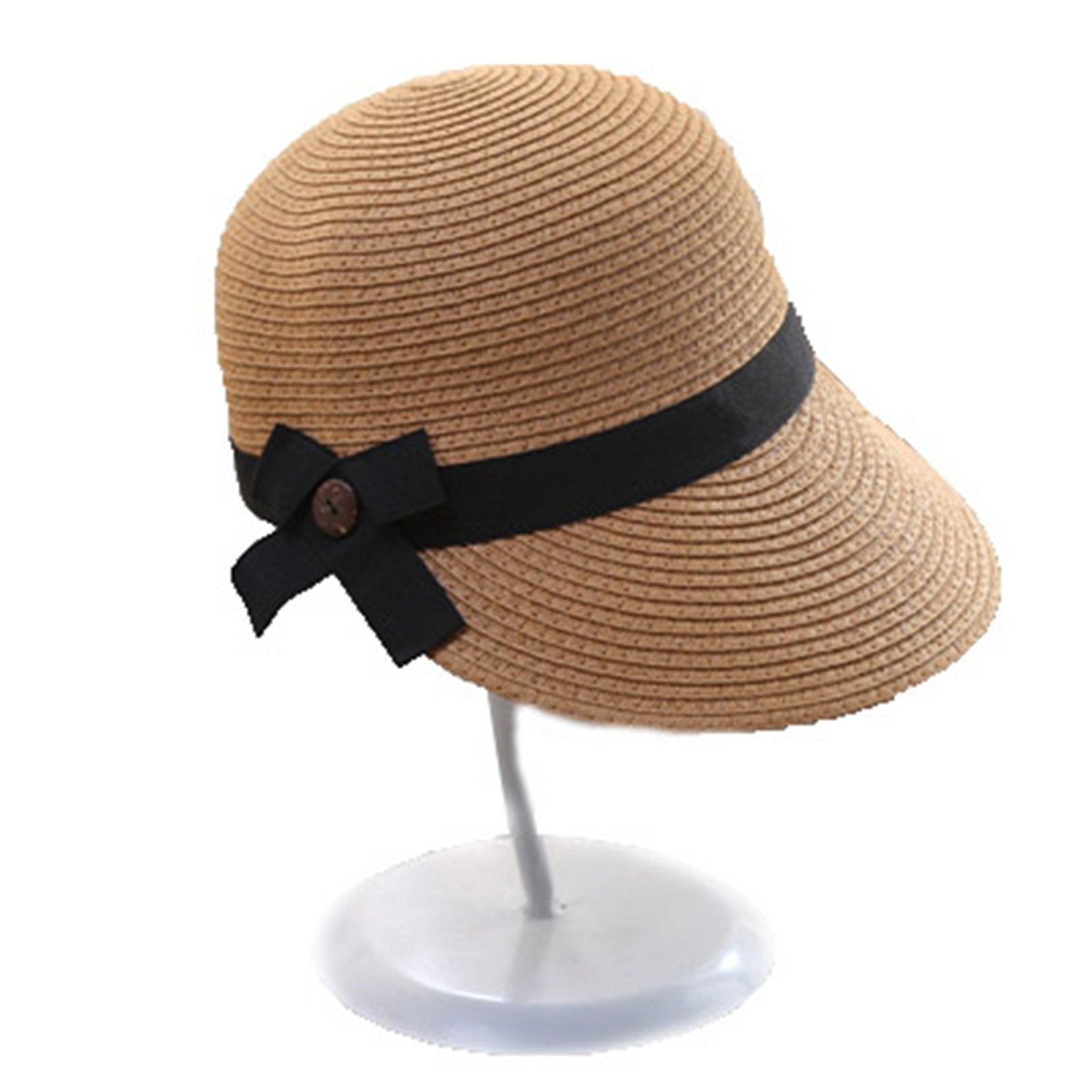 Barry picks Fashion Sun Hats For Women Man Large Brim Straw Hat With Bow Summer Hat For Women Beach Cap,OneSize,Khaki