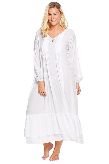 1adbc18456 Swiftt Damen Nachthemd große Größen Schlafkleid Langarm viktorianischer  Stil Nachtkleid