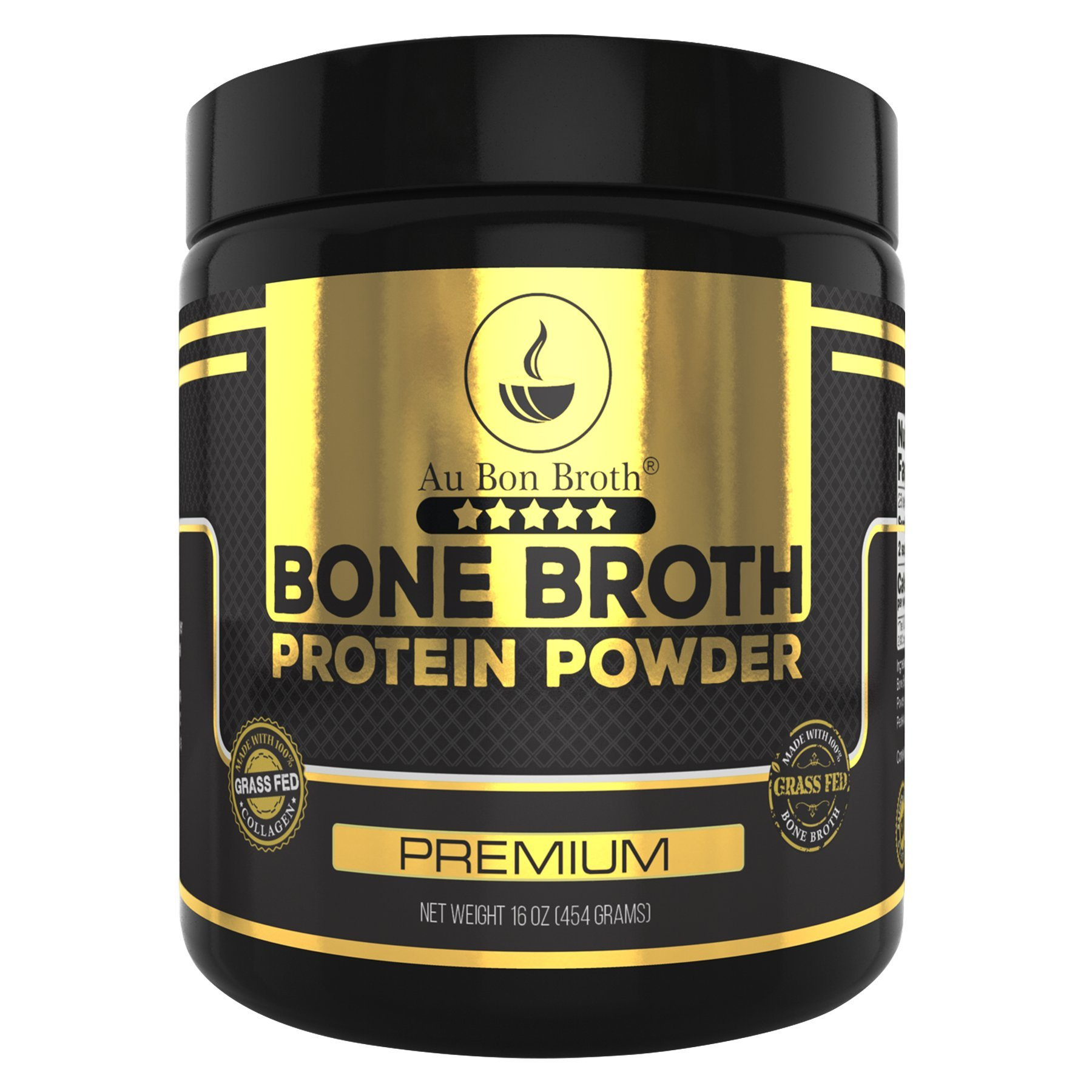 Genuine Grass Fed Organic Bone Broth Protein Powder Collagen 16oz. Premium Flavor 28 Servings, Mixes Instantly, Gluten Free, Pasture Raised, 100% Sourced, Made in USA, NOT from Concentrate