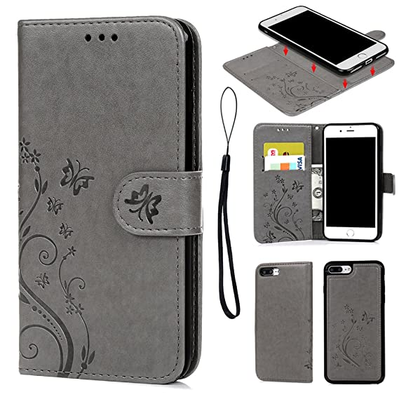 save off 7aea0 ab102 iPhone 8 Plus Case, iPhone 7 Plus Wallet Case Embossed Butterfly PU Leather  Flip Cover Detachable Magnetic Wallet with Card Slots Wrist Strap Skin for  ...
