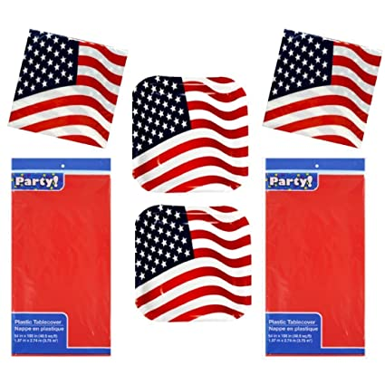 Memorial Day 2107 Patriotic Paper Plates Napkins Table Cloth Serves 28 Paper Red  sc 1 st  Amazon.com & Amazon.com: Memorial Day 2107 Patriotic Paper Plates Napkins Table ...