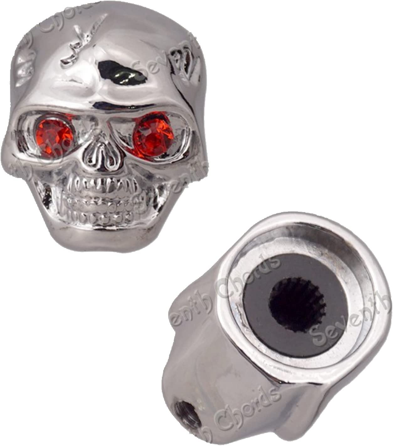 Black 4 Pcs Metal Skull Head Volume Tone Control Knobs for Electric Guitar Bass Replacement Parts