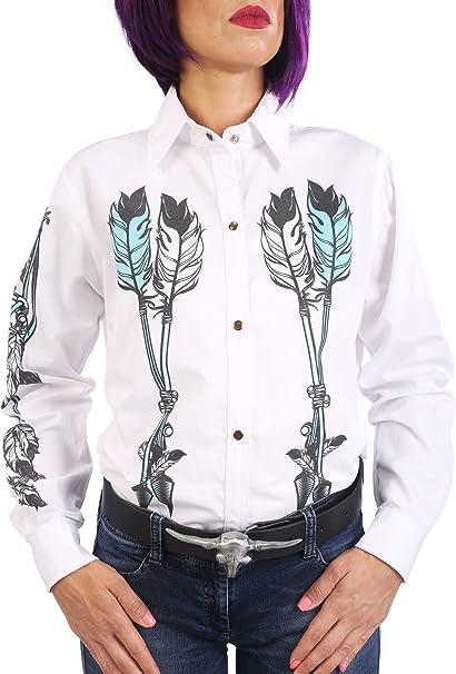 Last Rebels Country Line Dance - Camisa para Mujer, Color Blanco Americano, Indio, atrapa sueños: Amazon.es: Ropa y accesorios