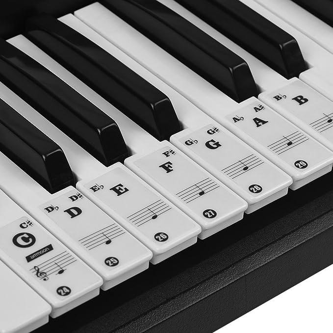 ammoon Pegatinas para Pianos Etiquetas Engomadas del Teclado de Piano para Teclados (Negro Transparente)
