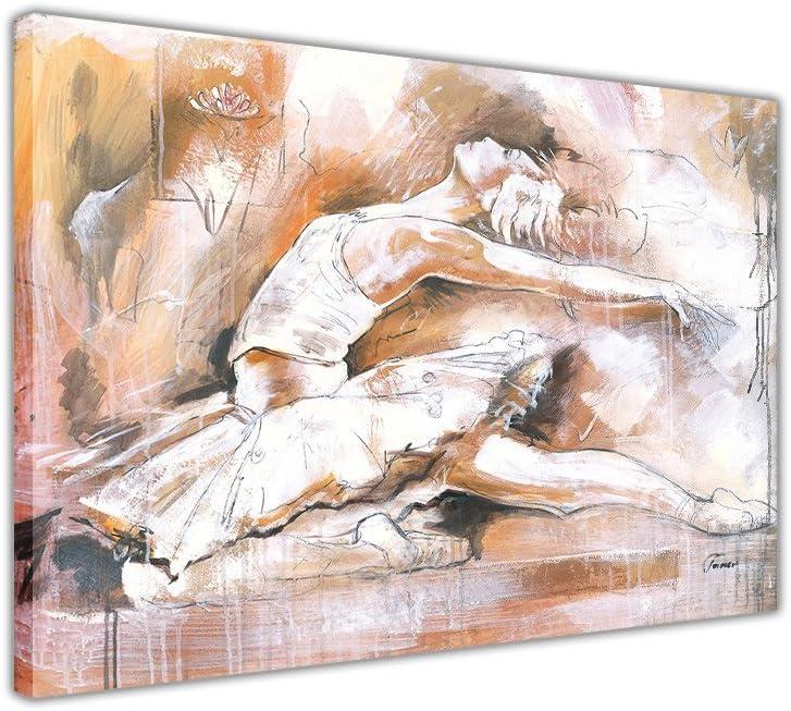 A4-12 X 8 01 30cm X 20cm Canvas It Up R/éimpression de peinture /à lhuile superbe d/égrad/é danseuse de ballet avec encadrement sur toile D/écoration de la Maison