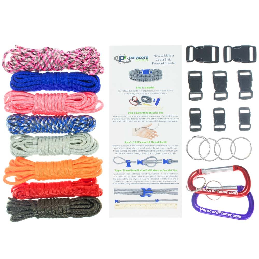 Paracord Survival Bracelet & Project Kit - 550 Parachute Cord, Buckles, Carabiners, Key Rings - (Starter & Hardware Kits Include Paracord Needle & Forceps) - Made in USA