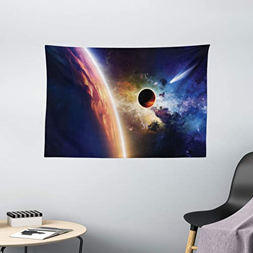 Ambesonne Outer Space Tapestry, Comet Approaches Vibrant Planet Scientific Realities in Solar System World Scene, Wide Wall Hanging for Bedroom Living Room Dorm, 60 X 40 , Blue Red