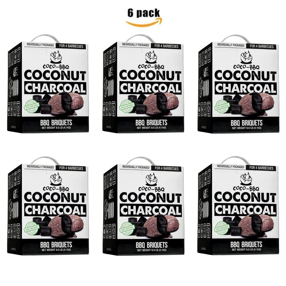 COCO-BBQ Eco-Friendly Barbecue (SET OF 6) Charcoal Made from Coconut Shells for Low and Slow Grilling