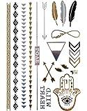 spestyle ungiftig und wasserdicht goldene gold silber schwarz metallic tattoo aufkleber. Black Bedroom Furniture Sets. Home Design Ideas