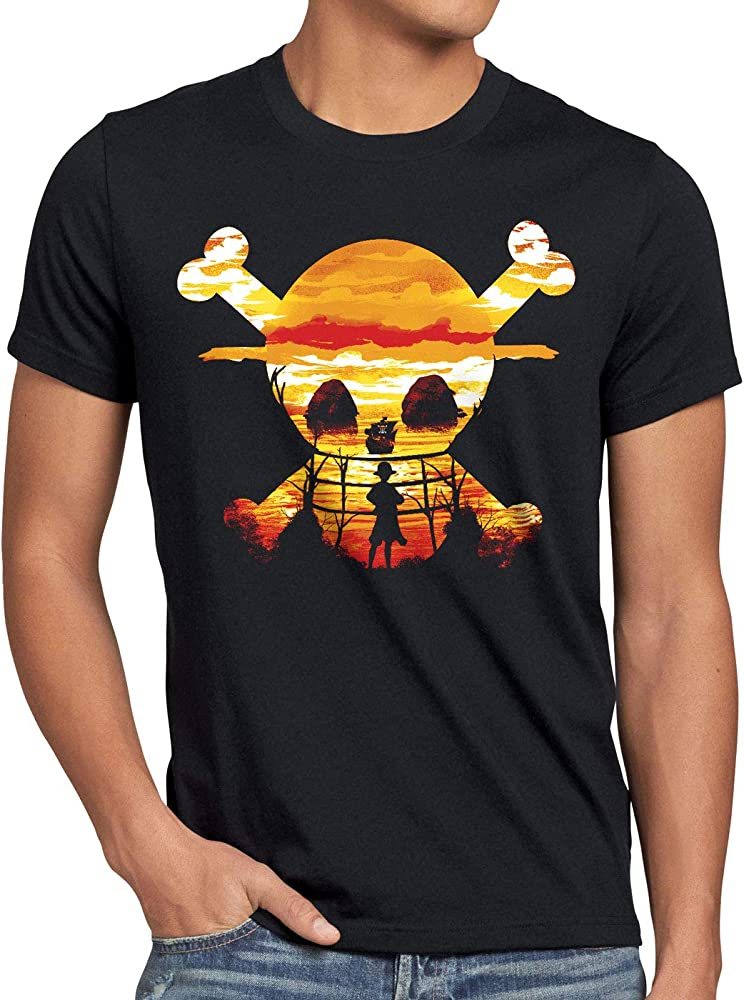 style3 Pirate Sunset Camiseta para Hombre T-Shirt One Anime Piece japonés, Talla:S: Amazon.es: Ropa y accesorios