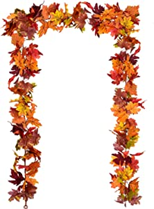 DearHouse 2 Pack Fall Garland Maple Leaf, 5.9Ft/Piece 7 Colors Hanging Vine Garland Artificial Autumn Foliage Garland Thanksgiving Decor for Home Wedding Fireplace Party Christmas