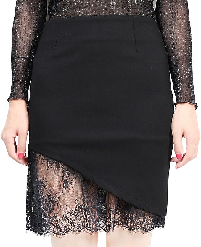 TenYid Sexy Mujer Mini Falda Negra Cortas de Encaje Elástico de ...