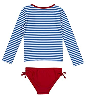 1a559f187b Nautica Baby Girls' Rashguard Swim Suit Set, Royal seas/Stripes, 12 Months