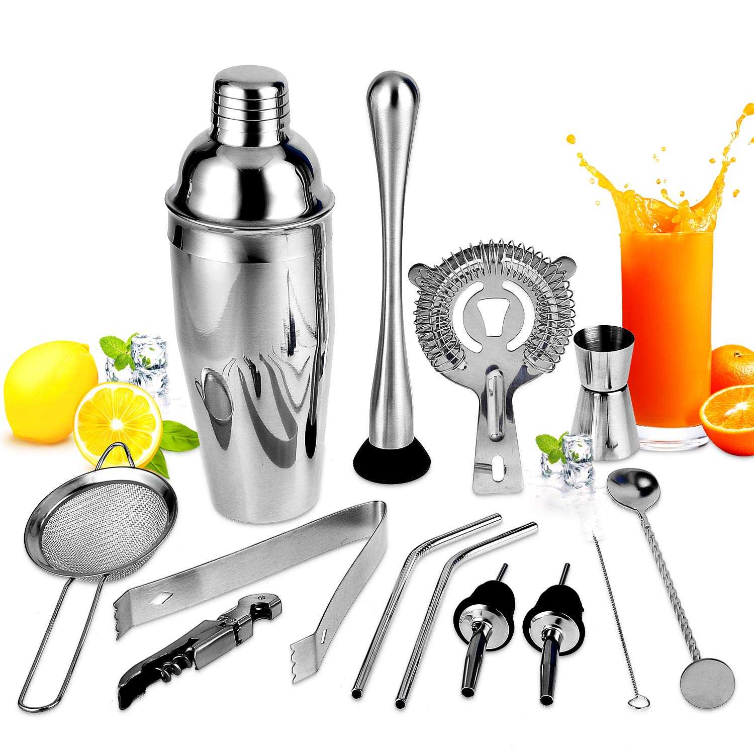 Cocktail Set,Cocktail Making Set 13Pcs, Cocktail Shaker Set,Bartending Kit Stainless Steel Cocktail Bar Tools,Large Drink Mixer Kits,Perfect Home Bartending Kit(750ML)