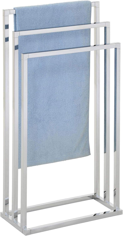 mit 3 Handtuchstangen IDIMEX Handtuchhalter KUNO Handt/ücher Handtuchst/änder Badetuchhalter grau