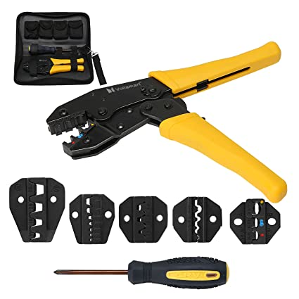 Insulated Cable Connectors Terminal Ratchet Crimping Wire Crimper Plier Tool Set