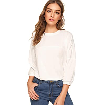 SweatyRocks Women's Long Sleeve Crop T-Shirt Distressed Ripped Cut Out Tee Tops at Women's Clothing store